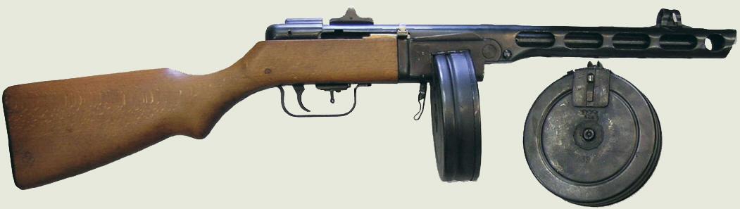 ППШ ранних выпусков с дисковым магазином на 71 патрон и секторным прицелом с десятью делениями для стрельбы на дистанцию от 50 до 500 м.