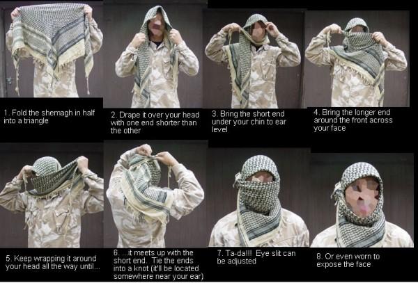 Арабский платок шемаг (арафатка) - как носить и завязывать